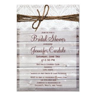 Rustic Barn Wood Lace Bridal Shower Invitations Custom Announcement