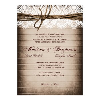 Rustic Barn Wood Lace Country Wedding Invitations Announcement