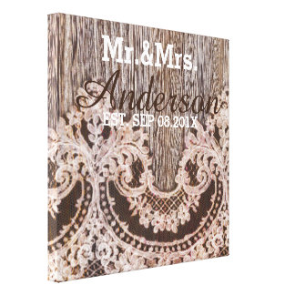 Rustic barn wood lace country wedding mr and mrs canvas print