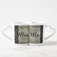 rustic barn wood lace country wedding mr and mrs coffee mug set