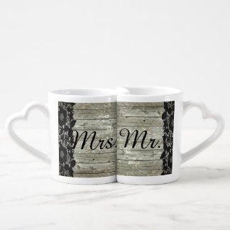 rustic barn wood  lace country wedding mr and mrs coffee mug set