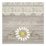 "Rustic Barn Wood Lace Floral Post Wedding 5.25"" Square Invitation Card"