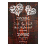 Rustic Barn Wood Lace Hearts Wedding Invitations Announcements
