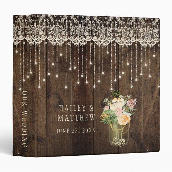 Rustic Barn Wood Lace Mason Jar Lights Wedding Binder