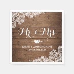 Rustic Barn Wood Lace Mr. and Mrs. Wedding Napkin