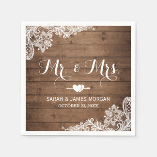 Rustic Barn Wood Lace Mr. and Mrs. Wedding Napkin