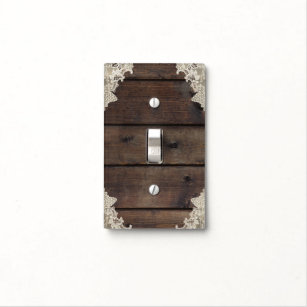 Rustic Barn Wood Lace Elegant Bedroom Light Switch Cover