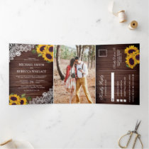 Rustic Barn Wood Lace Sunflower Wedding Photo Tri-Fold Invitation