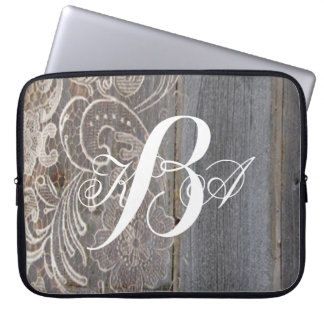 rustic barn wood lace western country monograms computer sleeve