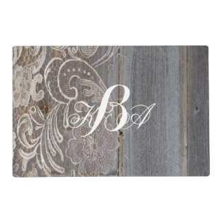 rustic barn wood lace western country monograms placemat
