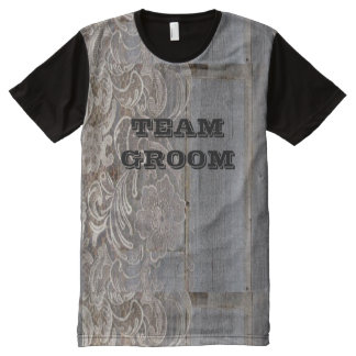 rustic barn wood lace western country team groom All-Over print shirt
