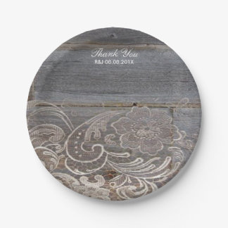 rustic barn wood lace western country wedding paper plate