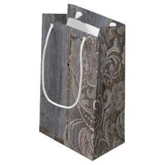 rustic barn wood lace western country wedding small gift bag