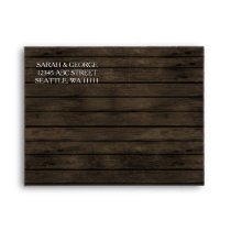 Rustic Barn wood Liner Wedding Invitations RSVP Envelope