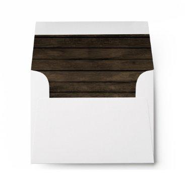 Rustic Barn wood Liner Wedding Invitations RSVP Envelope