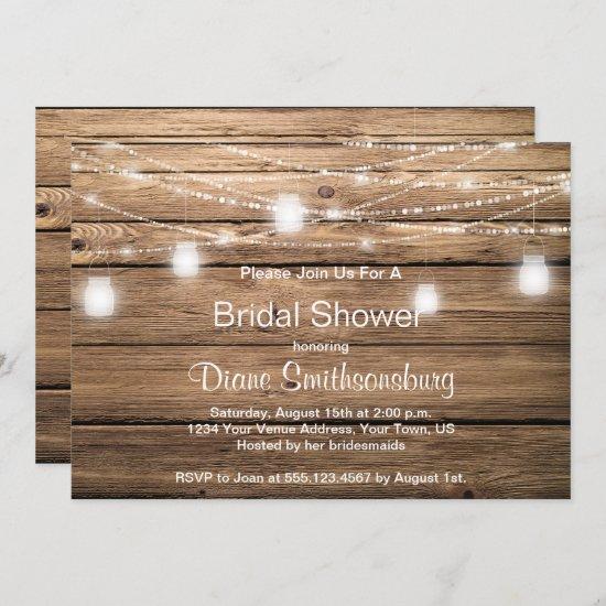 Rustic Barn Wood Mason Jar Lights Bridal Shower Invitation