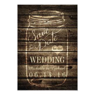 Rustic Barn Wood Mason Jar Save the Date Card