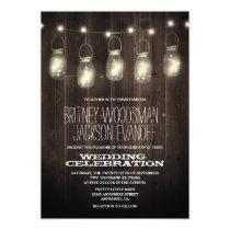 Rustic Barn Wood Mason Jar Wedding Invitations