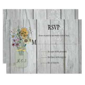 Rustic Barn Wood Mason Jar Wildflowers RSVP Card