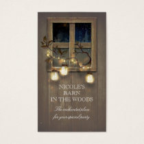 Rustic Barn Wood Mason Jars String Lights Tree Business Card