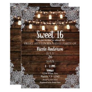 Rustic Barn Wood & Mason Jars Sweet 16 Party Card