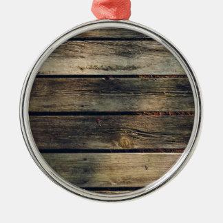Rustic Barn Wood Metal Ornament