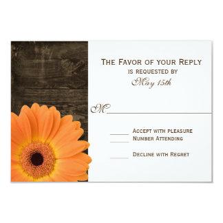 Rustic Barn Wood Orange Daisy Wedding RSVP Cards