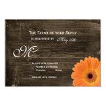 Rustic Barn Wood Orange Daisy Wedding RSVP Cards Custom Invite