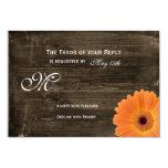 Rustic Barn Wood Orange Daisy Wedding RSVP Cards Invitations