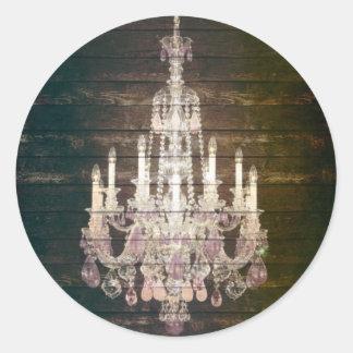 Rustic Barn Wood Paris vintage chandelier Classic Round Sticker