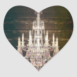 Rustic Barn Wood Paris vintage chandelier Heart Sticker