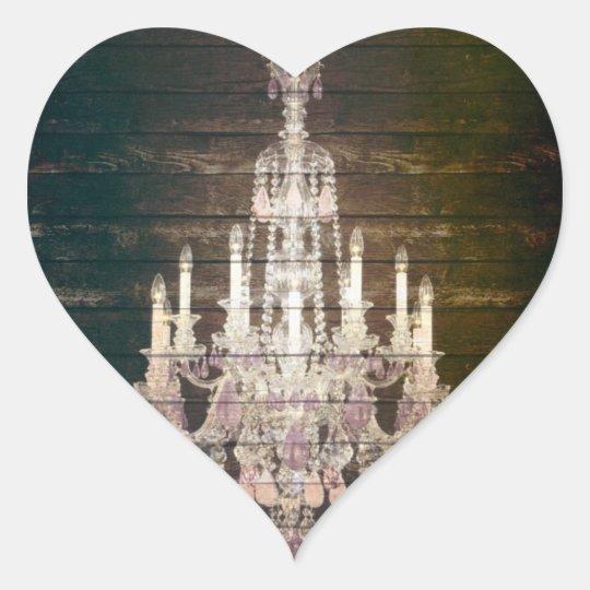 Rustic Barn Wood Paris vintage chandelier Heart Sticker