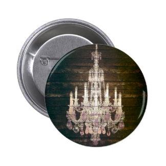 Rustic Barn Wood Paris vintage chandelier Pinback Button