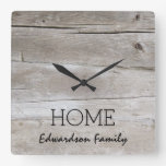 Rustic barn wood pattern Home Family name Square Wall Clock