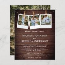Rustic Barn Wood Photo Budget Wedding Invitation