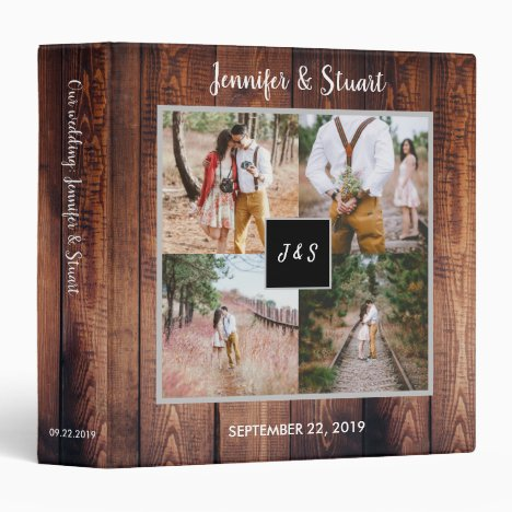 Rustic barn wood photo collage monogram Wedding 3 Ring Binder