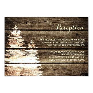 Rustic Barn Wood Pine Trees Winter Reception Card