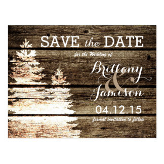 Rustic Barn Wood Pine Trees Winter Save the Date Postcard