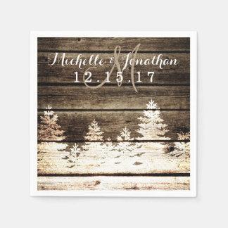 Rustic Barn Wood Pine Trees Winter Wedding Napkin