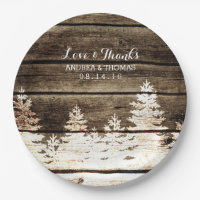 Rustic Barn Wood Pine Trees Winter Wedding Plates