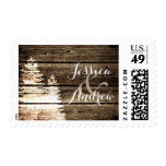 Rustic Barn Wood Pine Trees Winter Wedding Postage