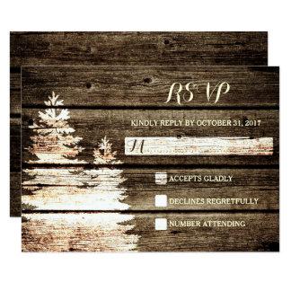 Rustic Barn Wood Pine Trees Winter Wedding RSVP Card