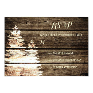 Rustic Barn Wood Pine Trees Winter Wedding RSVP 3.5x5 Paper Invitation Card