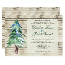 Rustic Barn Wood Pine Wedding Card