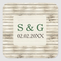 Rustic Barn Wood Pine Wedding Square Sticker