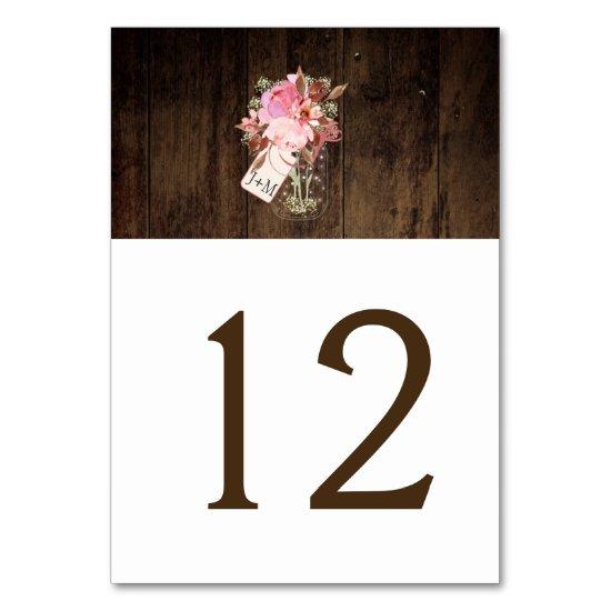 Rustic Barn Wood Pink Floral Mason Jar | Table Number