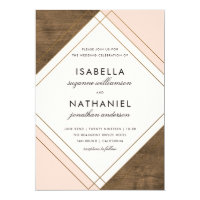 Rustic Barn Wood | Pink & Gold Geometric Wedding Invitation