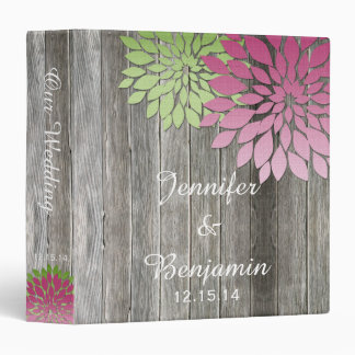 Rustic Barn Wood Pink Green Petals Wedding Album 3 Ring Binder