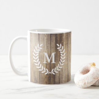 Rustic Barn Wood Planks Farmhouse Laurels Initial Coffee Mug