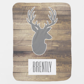 Rustic Barn Wood Planks Grey Deer Bust & Name Swaddle Blanket